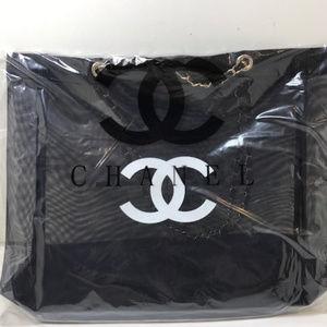 Chanel VIP gift bag Mesh tote bag Gold Chain